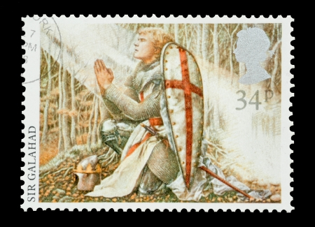 arthur: United Kingdom - circa 1985: Mail stamp printed in the UK featuring the Arthurian Legend character Sir Galahad.