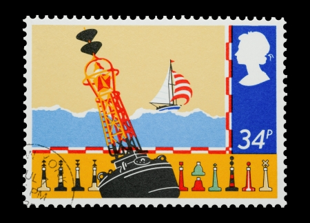 signaling: United Kingdom - circa 1985: Mail stamp printed in the UK depicting different types of marine navigation and warning bouys.