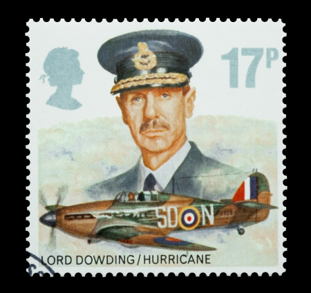 commemorating: United Kingdom - circa 1986: Mail stamp printed in the UK commemorating the WW2 Hurricane fighter aircraft and RAF leadership of Lord Dowding