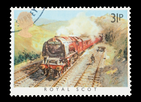 scot: Mail stamp printed in the UK featuring the British built Royal Scot steam locomotive, circa 1985