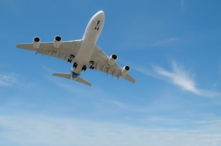 large jet aircraft on landing approach in a cloudy blue sky photo