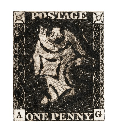 Queen Victoria Penny Black mail stamp printed in the UK, isolated on a white background, circa 1840 Stock Photo - 15395041