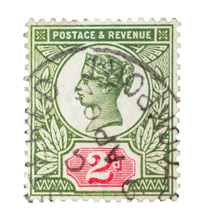 Queen Victoria, two penny green and scarlet mail stamp printed in the UK, isolated on a white, circa 1887 Stock Photo - 15418597