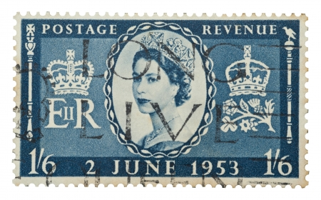 Queen Elizabeth II mail stamp printed in the UK to celebrate her coronation to the throne on June 2, 1953