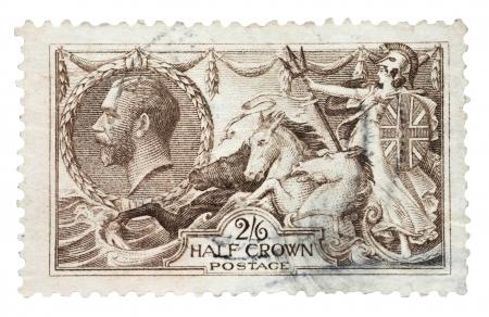 britannia: King George V, Britannia and seahorses mail stamp, printed in the UK, circa 1915