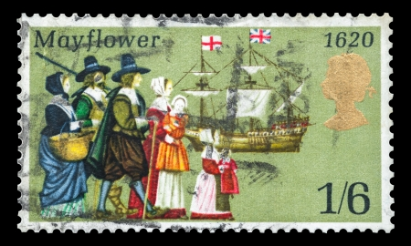 philately: Commemorative mail stamp printed in the UK featuring the sailing to America in 1620 of the Pilgrims from Britain onboard the Mayflower ship, circa 1970 Editorial