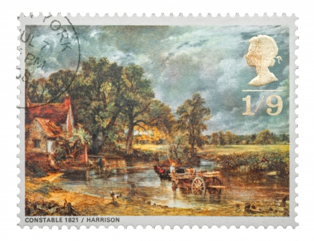19th century: Mail stamp printed in the UK featuring the famous 19th century painting, The Hay Wain, by John Constable, circa 1968