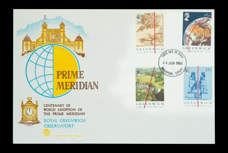 Commemorative First Day of Issue mail stamps printed in the UK, featuring the Prime Meridian line at the Royal Greenwich Observatory in London, circa 1984 Stock Photo - 15508625