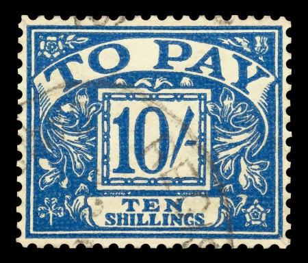 Mail stamp printed in the UK featuring the postage fine of ten shillings to pay, circa 1940 Stock Photo - 15509155