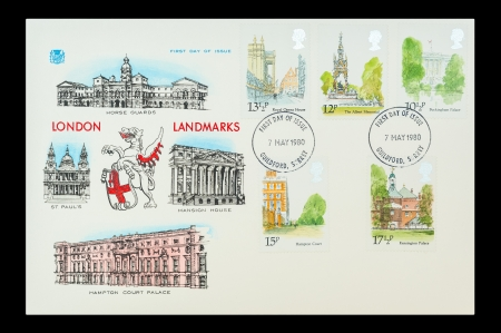 buckingham palace: Commemorative First Day of Issue mail stamps printed in the UK featuring landmark architecture in the City of London, circa 1980