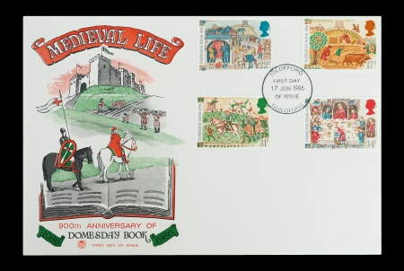 Commemorative First Day of Issue mail stamps printed in the UK, celebrating scenes from Medieval life and the 900th Anniversary of the historic Domesday Book, circa 1986