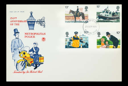 Commemorative First Day of Issue mail stamps printed in the UK celebrating the 150th anniversary of the of the Metropolitan Police, circa 1979 Stock Photo - 15546800