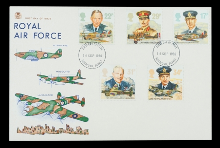 world war two: First day of issue stamp set printed in the UK commemorating the aircraft and wartime leadership of the British Royal Air Force, circa 1986
