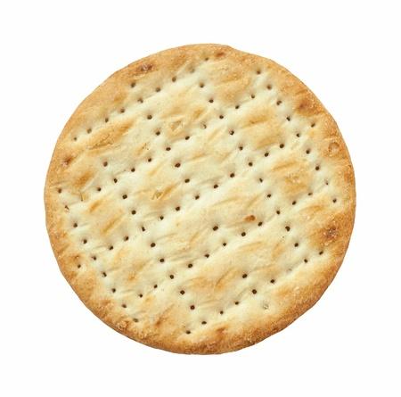 crackers: Primer plano de una galleta sabroso aislado en blanco Foto de archivo