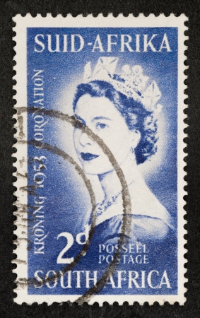 Mail stamp printed in South Africa celebrating the coronation of Queen Elizabeth II, circa 1953