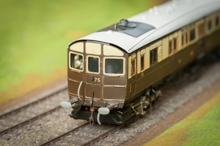 closeup of a vintage model train and driver - shallow d.o.f. photo