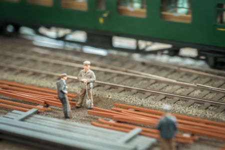 miniature model railroad workers photo