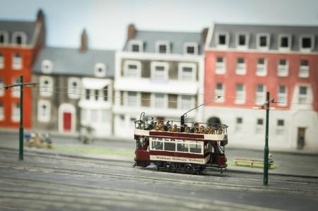 streetcar: miniature model open top tramway streetcar