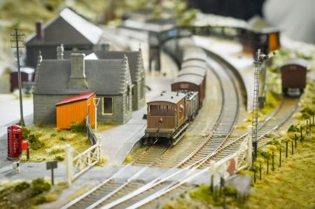 railroad station platform: British rural village model railway station - shallow d.o.f.