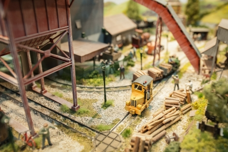 logging railways: logging yard miniture model railroad with shallow d o f