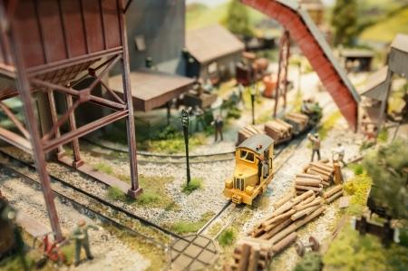 logging railroads: registrazione cantiere modello ferrovia miniture con dof poco profondo