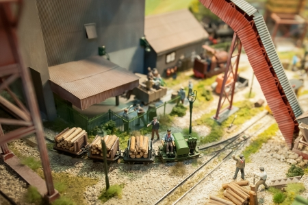 logging yard miniture model railroad with shallow d o f photo