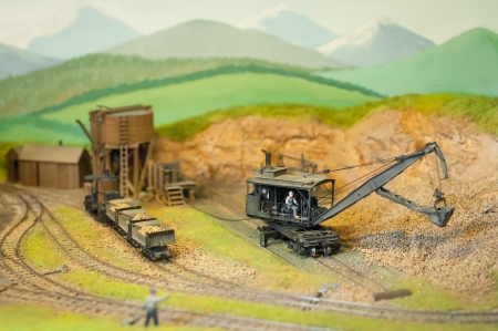 small scale model railroad mining works photo