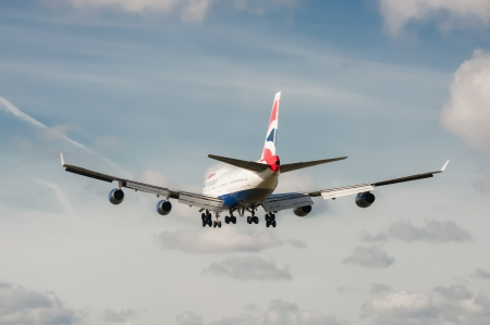 London, Heathrow Airport - October 30, 2012: British Airways Boeing 747 on landing approach to London - Heathrow, UK; the third busiest airport in the world.