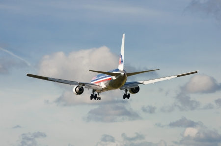 american airlines: London, Heathrow, UK - October 30, 2012: American Airlines Boeing 767 on landing approach to the third busiest airport in the world - London Heathrow Airport, UK