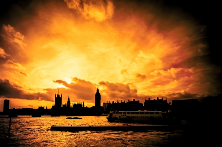blazing London skyline sunset abstract