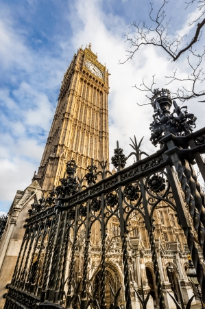 hdr of the big ben clock tower and british parliament buildings in london