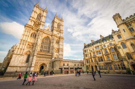 abbey: sunset illuminating the towers of westminster abbey in central london