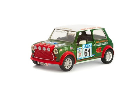 cooper: Corgi manufactured 1:32 scale die-cast miniature model of a MK 1 Mini Cooper in Eddie Stobart livery; originally raced in the British MSA Manx rally