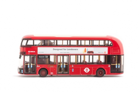 Corgi manufactured 1:76 scale model of an NB4L Hybrid bus first opertated by Transport for London on Route 38 in 2012