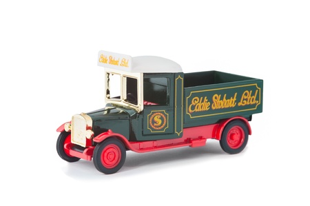 toy truck: Vintage model pick-up truck manufactured by Corgi in Eddie Stobart livery on white Editorial