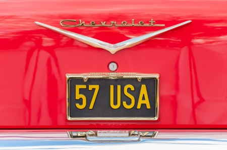 chevrolet: Farnborough, UK - March 29, 2013: Unique Chevrolet vehicle licence plate, circa 1957 on display at the annual Wheels Day auto and bike show. Editorial