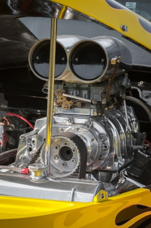 dragster: blower supercharger inside a powerful dragster engine bay Stock Photo