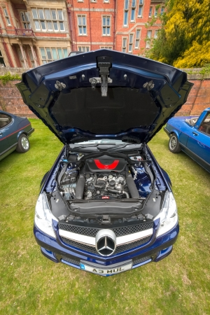 sportscar: Winnersh, UK - May 18, 2013: Powerful Mercedes-Benz SL 350 sports-car; part of a collection of modern and vintage vehicles displayed for charity at Bearwood College in Winnersh, UK