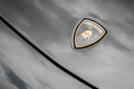 lamborghini: Winnersh, UK - May 18, 2013: Lamborghini Raging Bull bonnet badge close-up, part of a collection of classic and modern vehicles displayed for charity at Bearwood College in Winnersh, UK Editorial