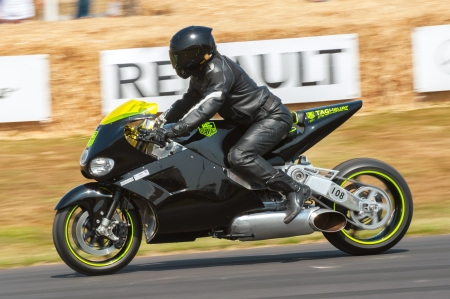 MTT Y2K Superbike powered by a 420bhp gas turbine helicopter engine at the Festival of Speed event at Goodwood, UK on July 13, 2013 Editorial
