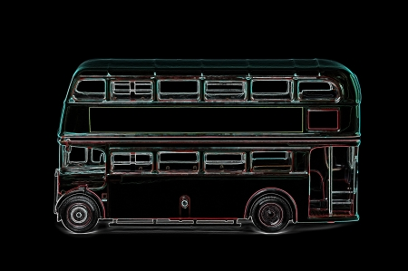 digitized: abstract digitized outline of a vintage routemaster london bus