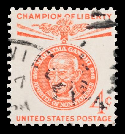indian postal stamp: Mahatma Gandhi Champion of Liberty mail stamp printed in the USA, circa 1961
