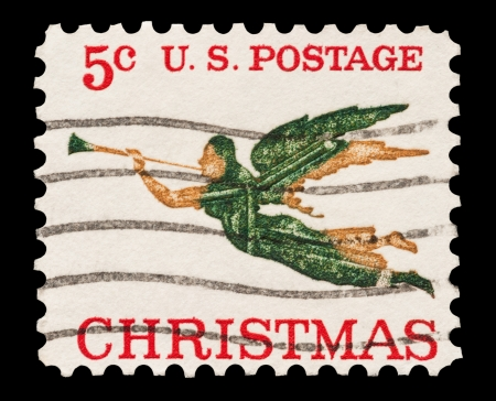 philately: Five cent Christmas mail stamp printed in the USA, circa 1965 Editorial