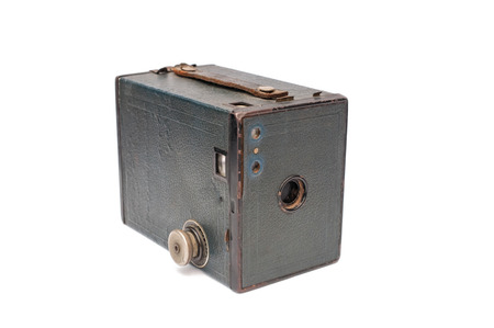 Hampshire, UK - January 31, 2014 - Vintage Type 2 Kodak Box Brownie film camera isolated on white  Produced in large numbers in North America, Canada   UK between 1900 and 1935