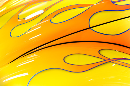 colorful flaming paintwork on a custom hotrod