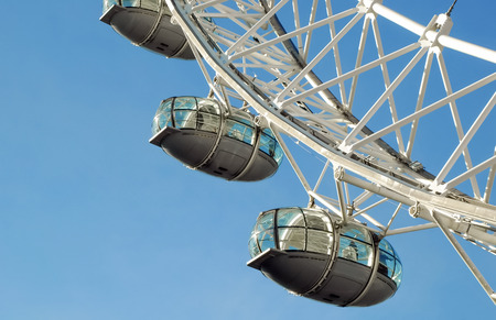london eye: London, UK - October 9, 2008  Closeup of the viewing capsules on the London Eye, one of the UK