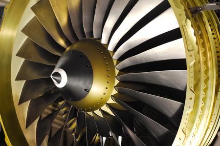 aircraft engine: close-up of jet engine turbine blades
