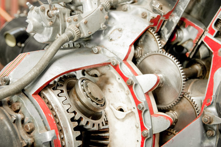 cutaway: precision mechanics inside a vintage aircraft engine