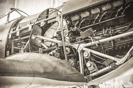vintage toned WW2 fighter plane engine