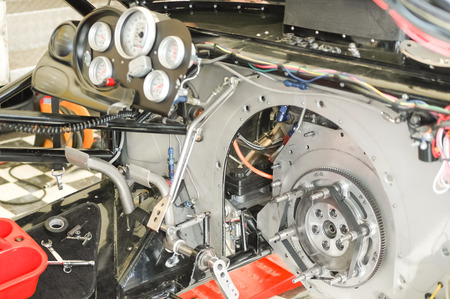 complex interior of a dragster race car